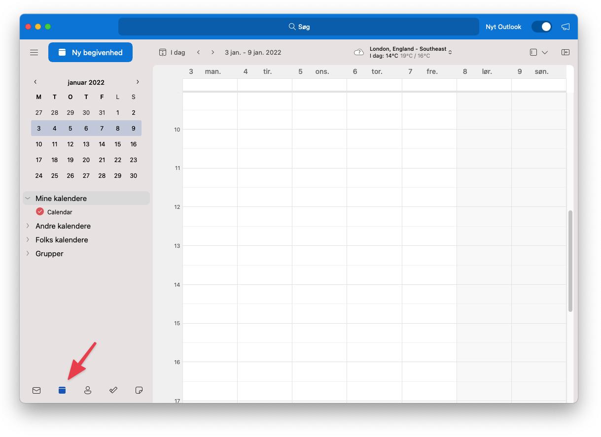 Åben outlook-kalender