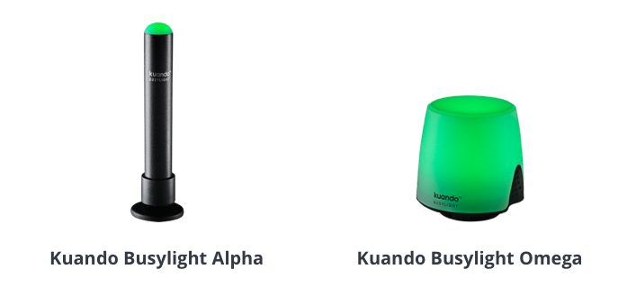 To forskellige typer af Busylight hos Flexfone