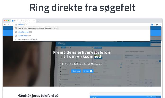 Ring direkte fra Chrome-browserens adressebar