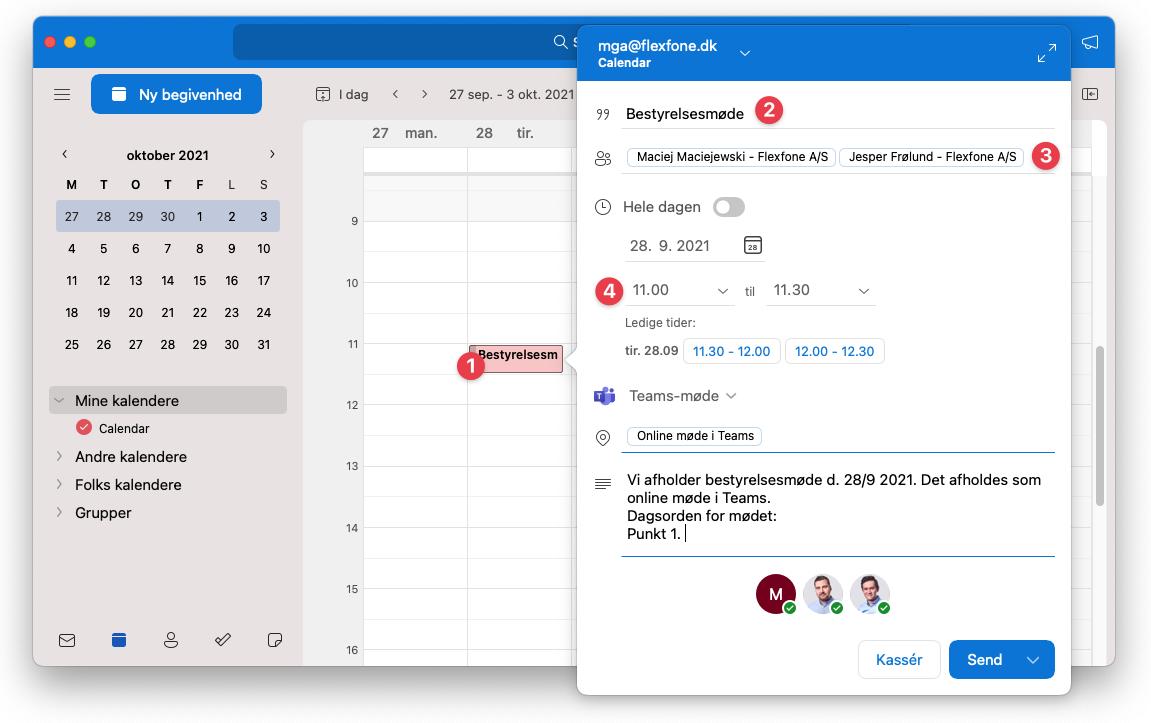 Oprettelse af online Teams-møde i Outlook. Trin 1-4 ud af 8.