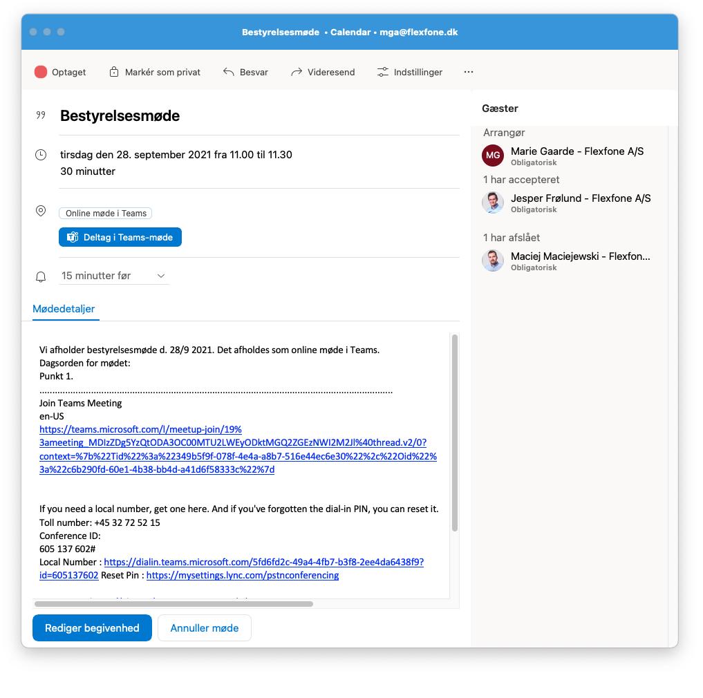 Online Teams-møde som begivenhed i Outlook kalender.