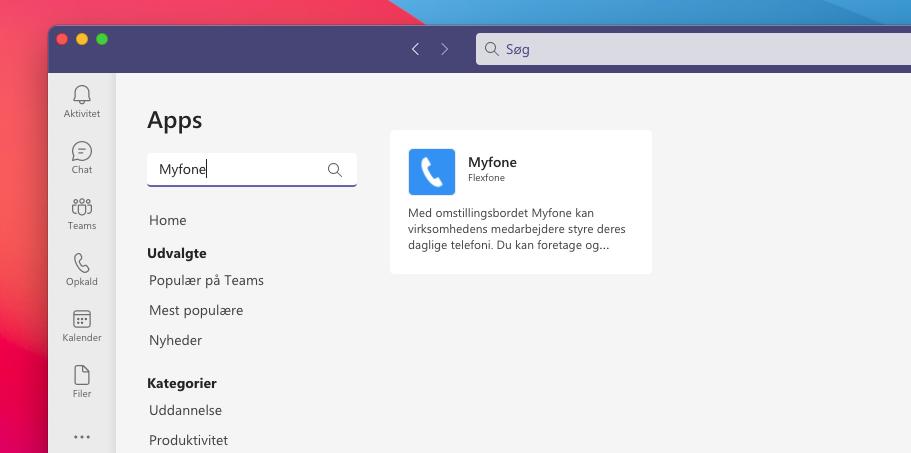 Find Myfone som app i Teams