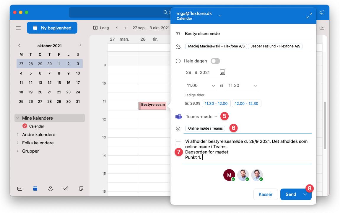 Oprettelse af online Teams-møde i Outlook. Trin 5-8 ud af 8.